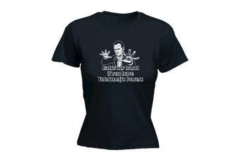 123T Funny Tee - Raise My Hand If You Have Telekinetic Powers - (Large Black Womens T Shirt)