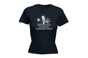 123T Funny Tee - Raise My Hand If You Have Telekinetic Powers - (Medium Black Womens T Shirt)