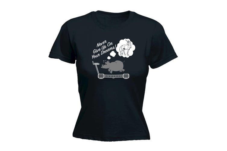 123T Funny Tee - Rhino Never Give Up On Your Dreams - (Large Black Womens T Shirt)
