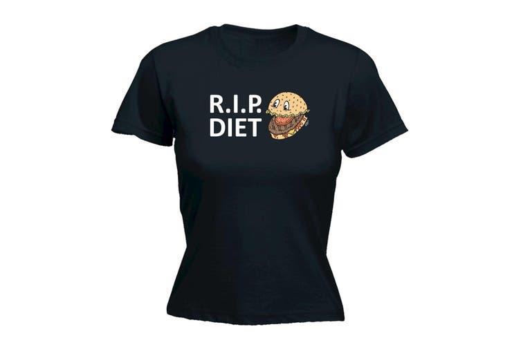 123T Funny Tee - Rip Diet - (Large Black Womens T Shirt)