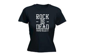 123T Funny Tee - Rock Is Dead Paper Killed It - (Medium Black Womens T Shirt)