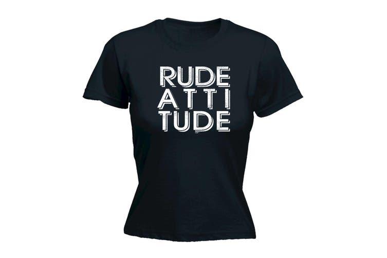123T Funny Tee - Rude Attitude - (Large Black Womens T Shirt)
