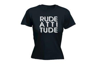 123T Funny Tee - Rude Attitude - (Medium Black Womens T Shirt)