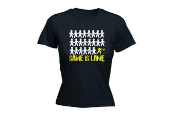 123T Funny Tee - Same Is Lame Fighter - (Large Black Womens T Shirt)