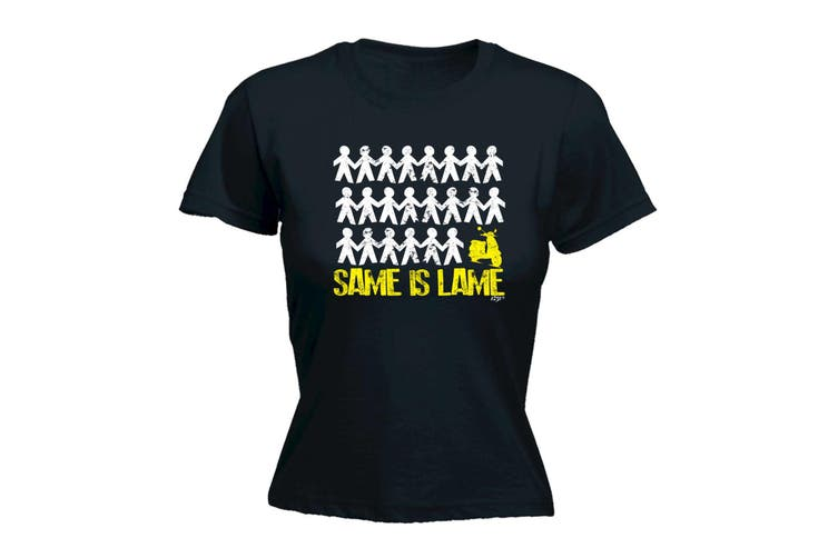 123T Funny Tee - Same Is Lame Scooter - (X-Large Black Womens T Shirt)