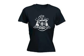 123T Funny Tee - Samurai Head - (Small Black Womens T Shirt)