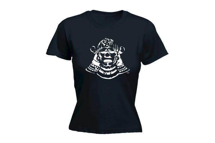 123T Funny Tee - Samurai Head - (XX-Large Black Womens T Shirt)