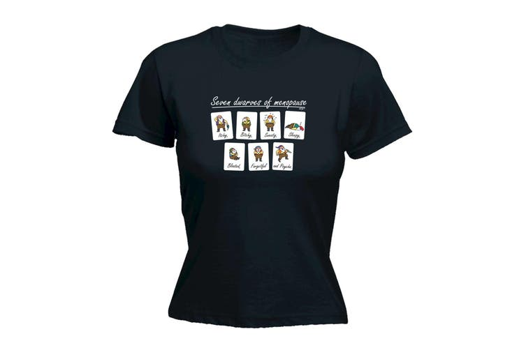 123T Funny Tee - Seven Dwarves Of Menopause - (Small Black Womens T Shirt)