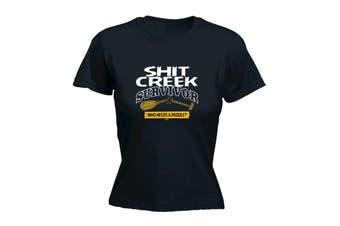 123T Funny Tee - sht Creek Survivor - (X-Large Black Womens T Shirt)
