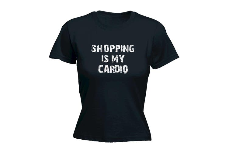 123T Funny Tee - Shopping Is My Cardio - (Large Black Womens T Shirt)