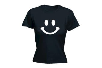 123T Funny Tee - Smile Face - (Medium Black Womens T Shirt)