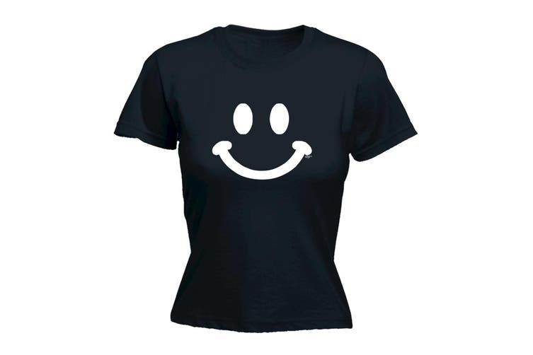 123T Funny Tee - Smile Face - (XX-Large Black Womens T Shirt)