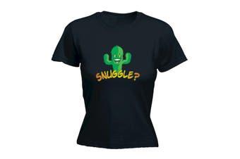 123T Funny Tee - Snuggle - (Medium Black Womens T Shirt)