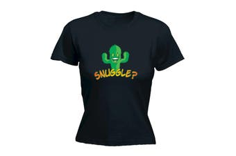123T Funny Tee - Snuggle - (Small Black Womens T Shirt)