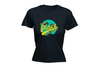 123T Funny Tee - Some Place Ive Never Been To - (Large Black Womens T Shirt)