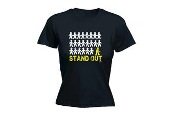 123T Funny Tee - Stand Out Robot - (Large Black Womens T Shirt)