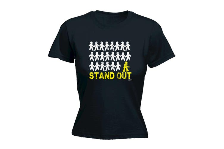 123T Funny Tee - Stand Out Robot - (XX-Large Black Womens T Shirt)