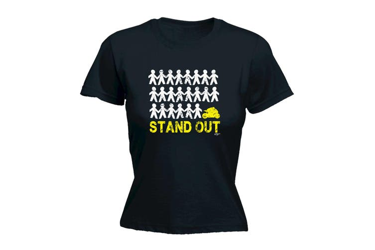 123T Funny Tee - Stand Out Speedmoto - (Small Black Womens T Shirt)