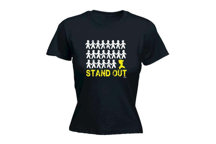 123T Funny Tee - Stand Out Woman - (Large Black Womens T Shirt)