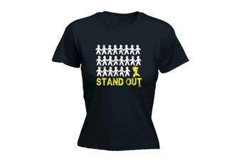 123T Funny Tee - Stand Out Woman - (Small Black Womens T Shirt)