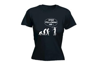 123T Funny Tee - Stop Following Me - (Medium Black Womens T Shirt)