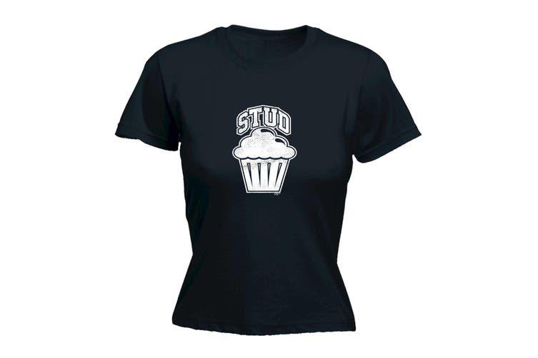 123T Funny Tee - Stud Muffin - (Medium Black Womens T Shirt)