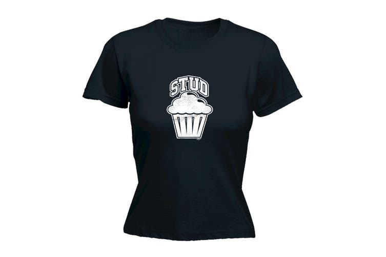 123T Funny Tee - Stud Muffin - (Small Black Womens T Shirt)