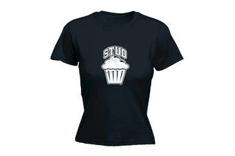 123T Funny Tee - Stud Muffin - (X-Large Black Womens T Shirt)
