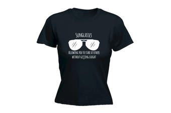 123T Funny Tee - Sunglasses Allowing You To Stare At Others - (Large Black Womens T Shirt)