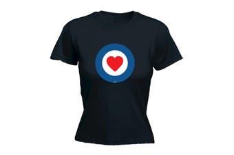 123T Funny Tee - Target Heart - (Small Black Womens T Shirt)