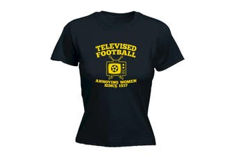 123T Funny Tee - Telvised Football Annoying Women - (Medium Black Womens T Shirt)