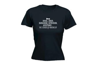 123T Funny Tee - The 5 Stages Of Waking Up - (Small Black Womens T Shirt)