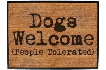 Doormat Medium 40 X 60Cm Dogs Welcome People Tolerated - Funny Novelty Birthday Doormat Floor Mat Floormat Door Personalised Gift Present New Home Christmas Custom Pet Dog Cat