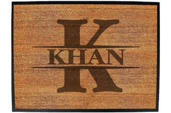 INITIAL-KHAN - Funny Novelty Birthday doormat floor mat floormat door personalised gift present new home christmas custom pet dog cat Entrance welcome office non slip