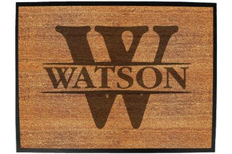Doormat Medium 40 X 60Cm INITIAL-WATSON - Funny Novelty Birthday Doormat Floor Mat Floormat Door Personalised Gift Present New Home Christmas Custom Pet Dog Cat Entrance Welco