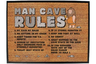 man cave rules - Funny Novelty Birthday doormat floor mat floormat door personalised gift present new home christmas custom pet dog cat Entrance welcome office non slip