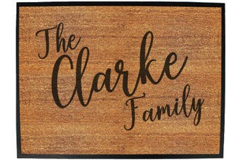 the family clarke - Funny Novelty Birthday doormat floor mat floormat door personalised gift present new home christmas custom pet dog cat Entrance welcome office non slip