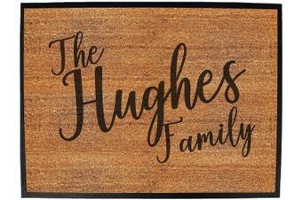 Doormat Medium 40 X 60Cm The Family Hughes - Funny Novelty Birthday Doormat Floor Mat Floormat Door Personalised Gift Present New Home Christmas Custom Pet Dog Cat Entrance We
