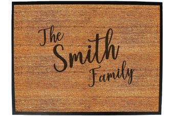 Doormat Medium 40 X 60Cm The Family Smith - Funny Novelty Birthday Doormat Floor Mat Floormat Door Personalised Gift Present New Home Christmas Custom Pet Dog Cat Entrance Wel