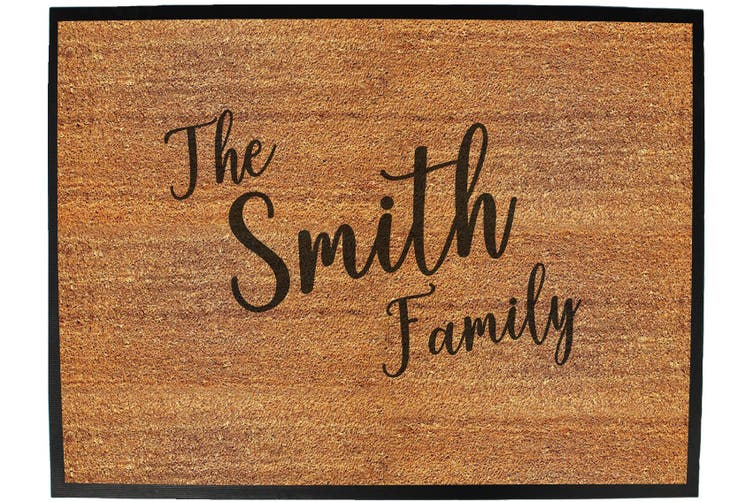 the family smith - Funny Novelty Birthday doormat floor mat floormat door personalised gift present new home christmas custom pet dog cat Entrance welcome office non slip