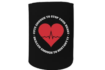 123t Stubby Holder - cute enough stop heart - Funny Novelty