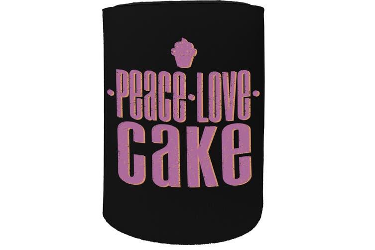 123t Stubby Holder - peace love cake - Funny Novelty