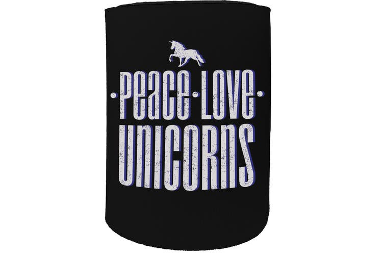 123t Stubby Holder - peace love unicorns - Funny Novelty