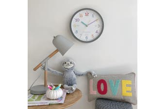 LEARN THE TIME Grey 30cm Silent Wall Clock by One Six Eight London