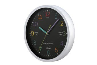 LEARN THE TIME Black 30cm Silent Wall Clock by One Six Eight London