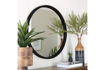 TINA 80cm Black Solid Wood Mirror by One Six Eight London