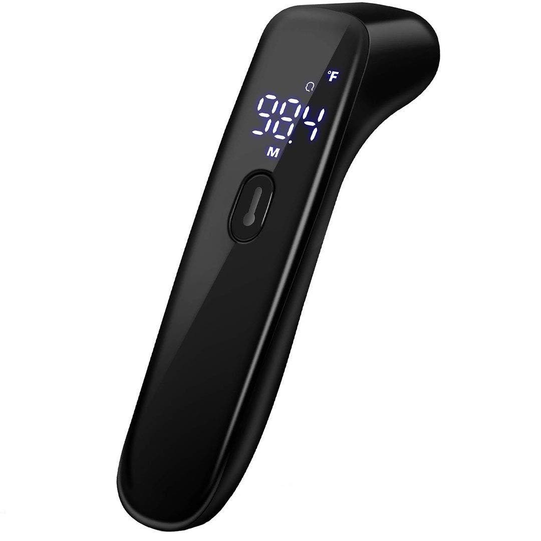 Infrared Thermometer for Adults, Digital Touchless Forehead Thermometer for Fever, Baby Thermometer with Fever Indicator,°C/°F Switchable Product Description 【Switchable Readings】 You can choose to measure using Fahrenheit or Celsius. And also can use this thermometer to measure the temperature of adults and babies, or various objects such as milk, water or room. 【Non-contact Design】 Non-contact infrared technology reads from forehead with no physical contact, this Infrared thermometer is special designed to take the human body temperature with a 1cm-5cm distance from forehead, no physical contact, prevents cross-infection between multiple peoples, as it does not bother during crucial rest moments 【Fast & Accurate】our infrared thermometer Gets accurate readings quickly with 1 second and the measurement result truly reflects human body or forehead temperature,The accuracy of temperature measurement is within 0.1 ℃ 【Intelligent】Automatic memory of 32 sets of measurements, LCD backlight has 3 different colors according to temperature, and abnormal temperature is accompanied by warning sound. 【Environmenta Material】Environmental protection pp material lets you use the product is safe and assured. Our thermometer with Germany Infrared, high sensitive thermal probe for improved precision clinical accuracy.  Product details Color:Black Package Dimensions : 7.52 × 2.6 × 1.85 inches; 4.16 Ounces
