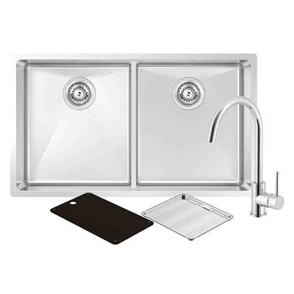 Montego Double Sink with 3K4 Kitchen Mixer Chrome Montego Double Sink with 3K4 Kitchen Mixer Chrome  Modern and sleek, the Montego sink range offers an added level of sophistication with its black cutting board and drain tray. Match it up with modern appliances to make the ultimate kitchen package.  Bowls: Two Bowls  Material: Stainless Steel  Size: L775mm x W450mm x D210mm