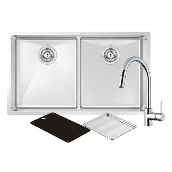 Montego Double Sink with SK5-AV Kitchen Mixer Chro Montego Double Sink with SK5-AV Kitchen Mixer Chrome  Modern and sleek, the Montego sink range offers an added level of sophistication with its black cutting board and drain tray. Match it up with modern appliances to make the ultimate kitchen package.  Bowls: Two Bowls  Material: Stainless Steel  Size: L775mm x W450mm x D210mm