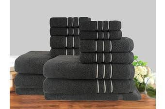 14 Piece Luxury Stripe 100% Cotton Towel Set 650GSM (Charcoal)